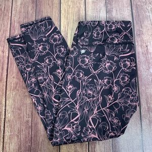 FABLETICS Purple & Pink Floral Cropped Leggings